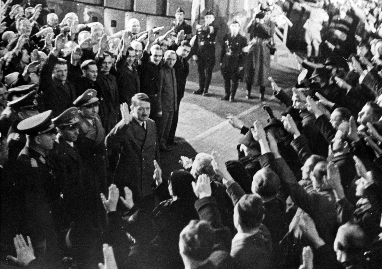 Adolf Hitler meets the Krupp factory workers