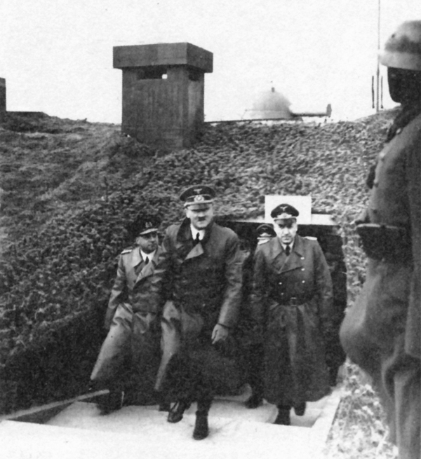 Adolf Hitler inspects a bunker with Friedrich-Wilhelm Fleischer and Fritz Todt in La Sence, France