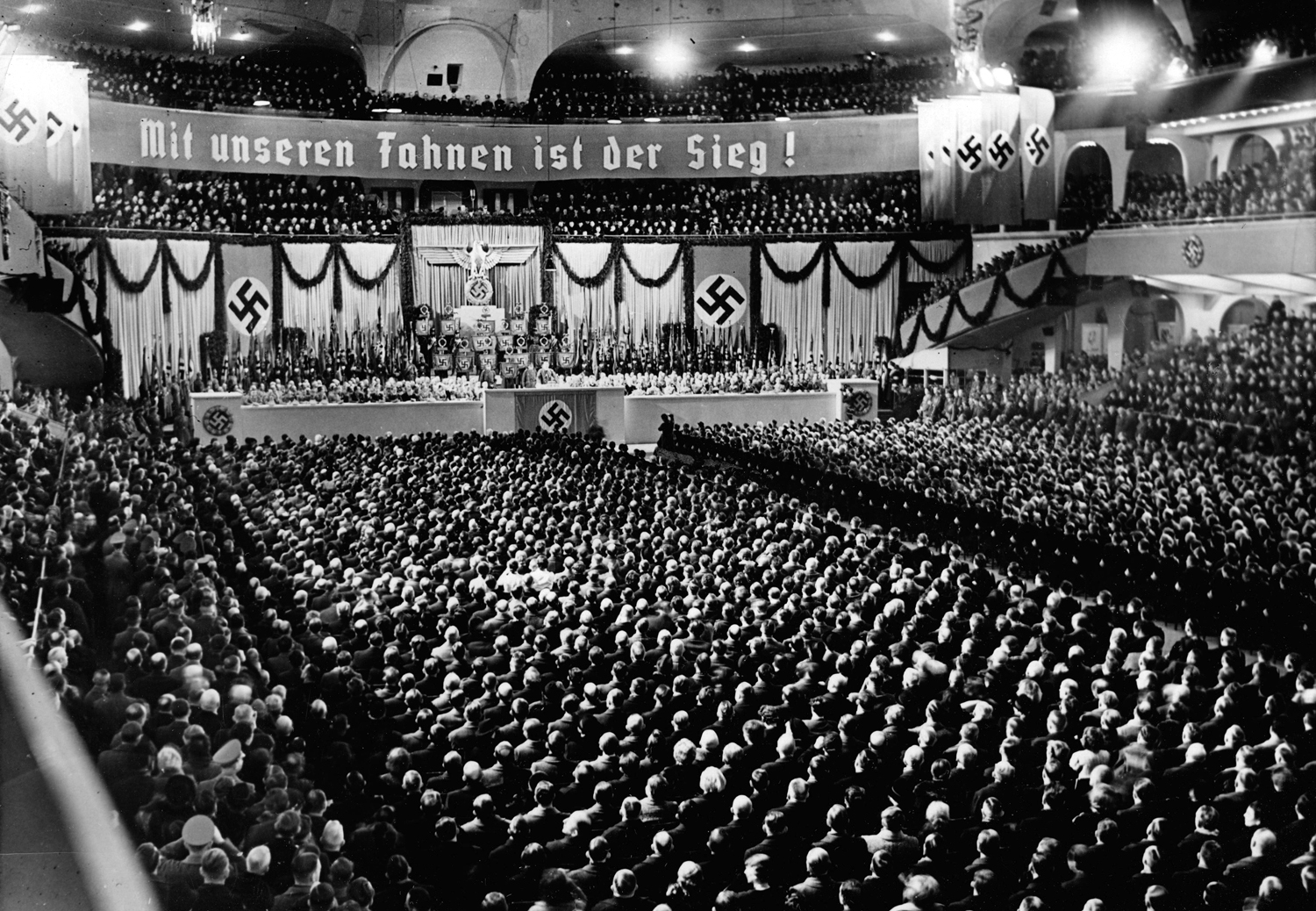 Adolf Hitler gives a speech in Berlin's Sportpalast for the anniversary of the Machtergreifung