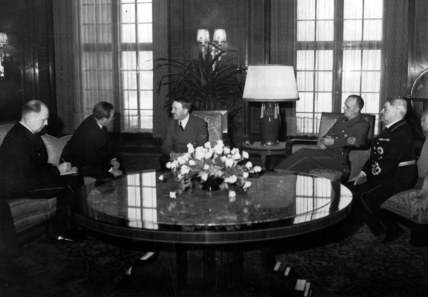 Adolf Hitler receives japanese ambassador Saburō Kurusu as he leaves his diplomatic position in Berlin