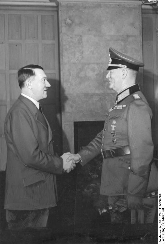 Adolf Hitler congratulates Wilhelm Keitel for his 40th year jubilee in the army