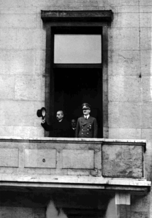 Adolf Hitler and the Japanese foreign minister Matsuoka on the balcony of the Reich Chancellery
