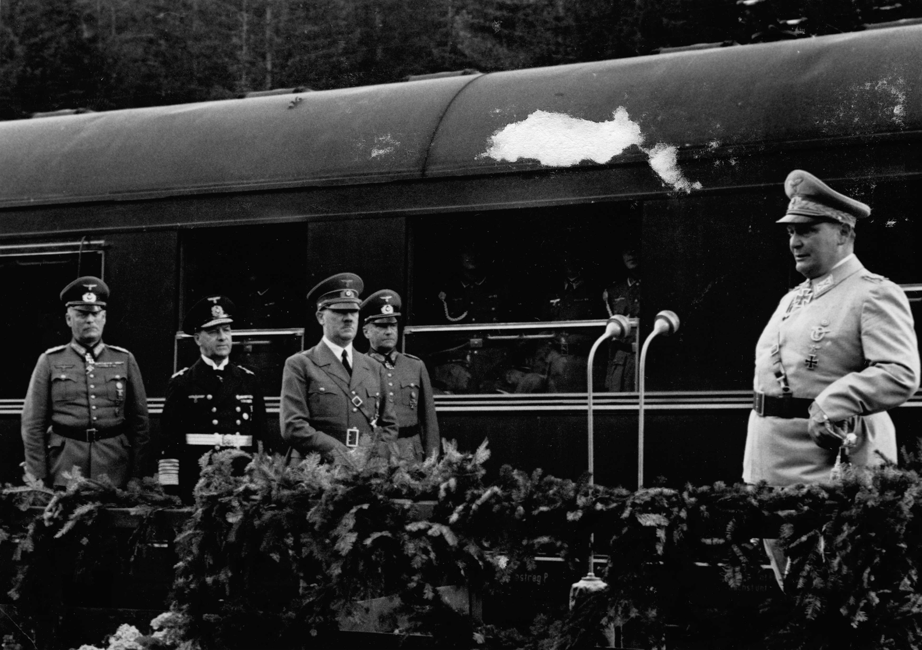 Hermann Göring makes a speech for Hitler's 52nd birthday in front of his Sonderzug