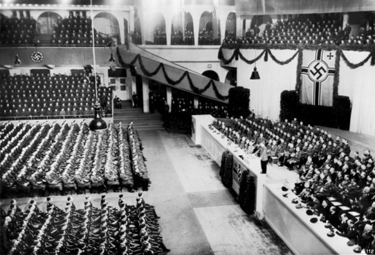 Adolf Hitler gives a speech in front of 9000 officers in Berlin's Sportpalast