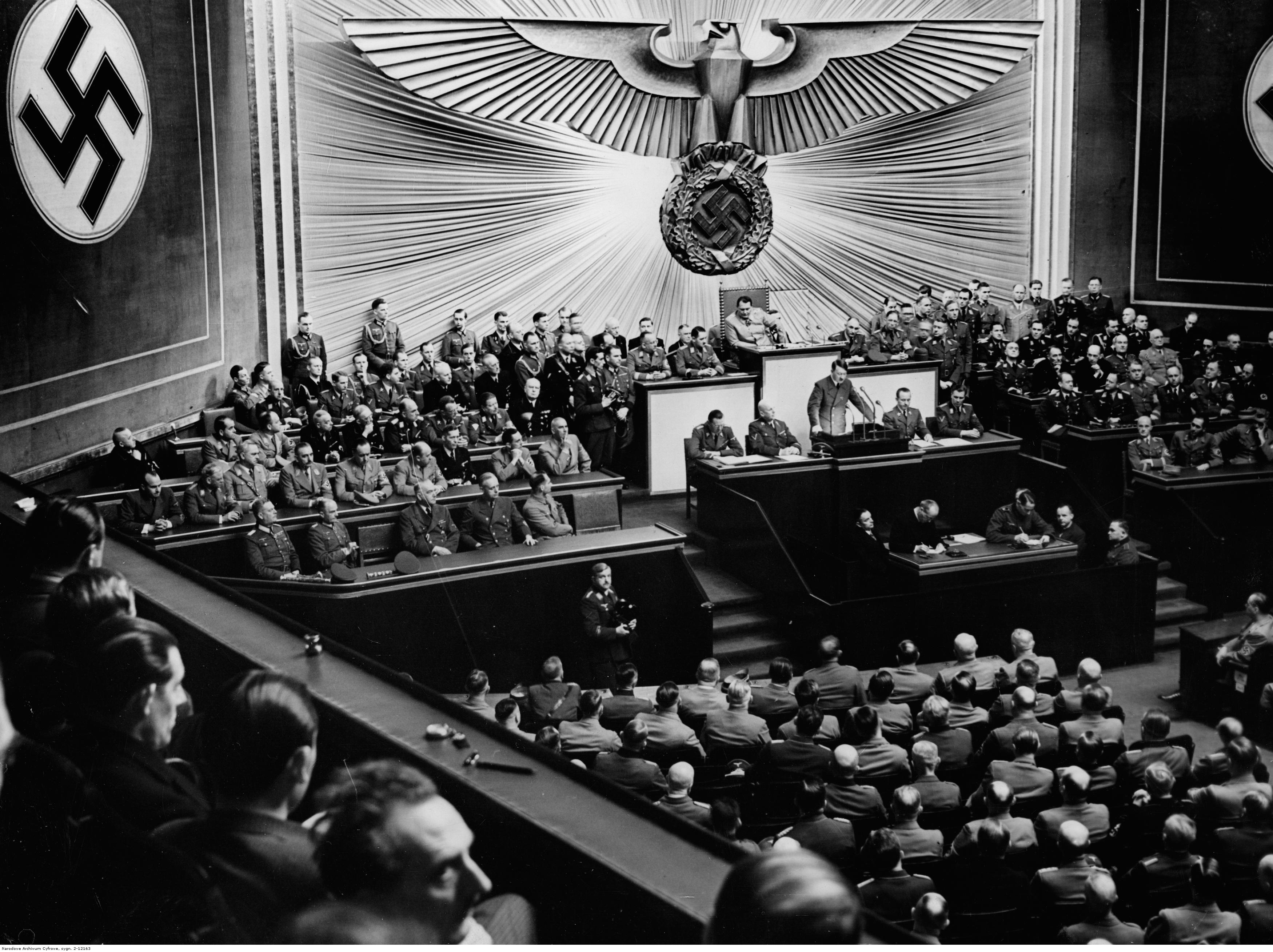 Adolf Hitler makes a speech in Berlin's Reichstag about the Balkan situation