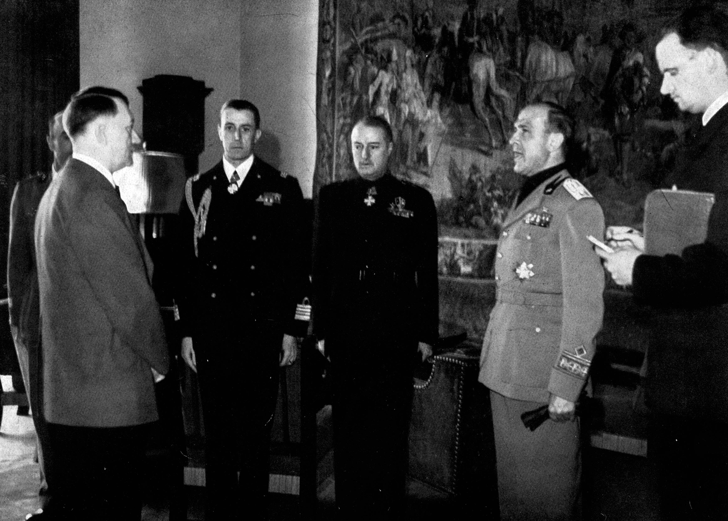 Adolf Hitler receives Dino Alfiero and other Italian ambassadors at the Berghof for the second anniversary of the Pact of Steel