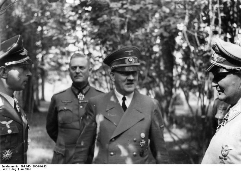 Adolf Hitler in conversation with Werner Mölders, Wilhelm Keitel, and Hermann Göring in his Wolfsschanze FHQ