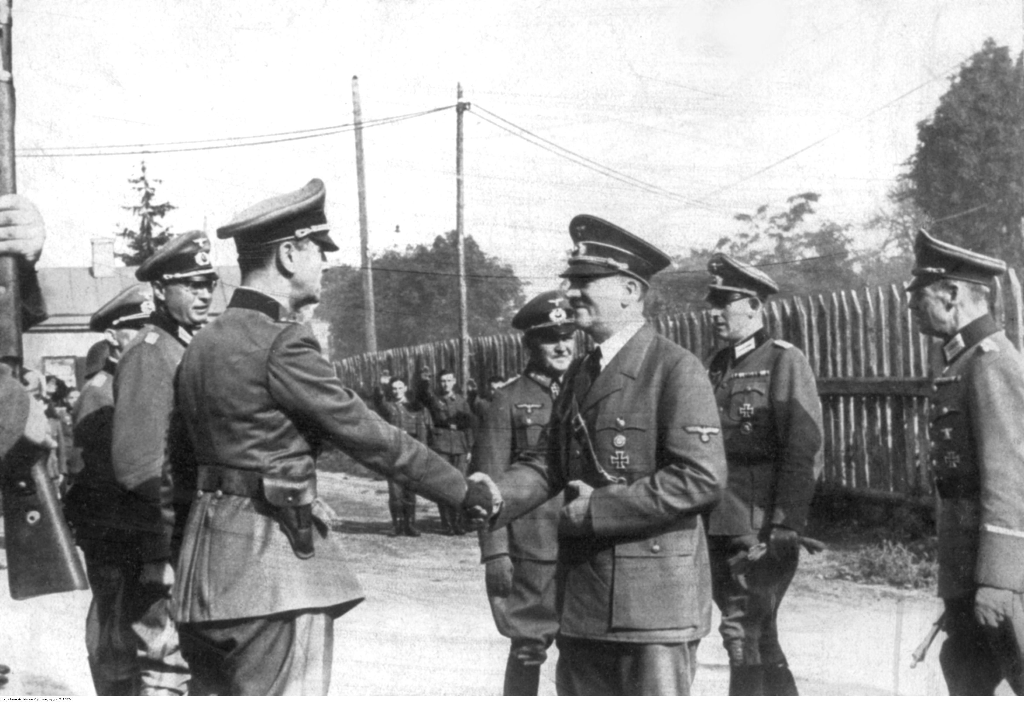 Adolf Hitler during a visit to general Rundstedt's headquarters in Ukraine