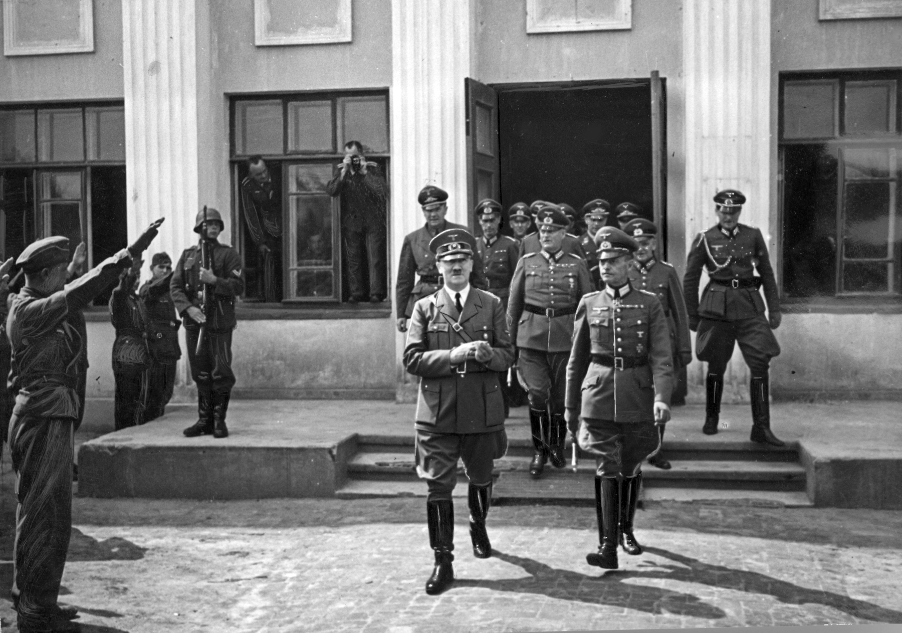 Adolf Hitler leaving the headquarters of army group south in Ukraine