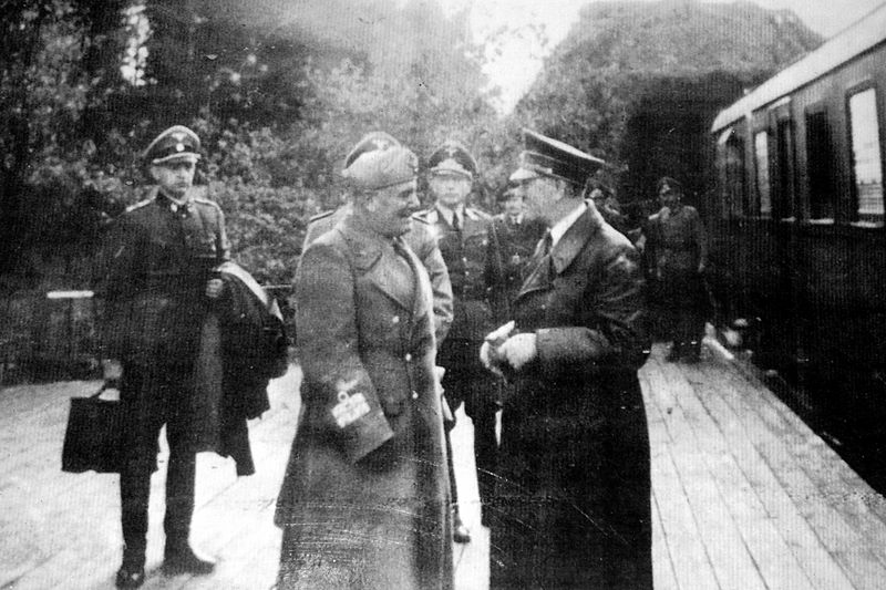 Meeting of Adolf Hitler and Benito Mussolini at the entrance of the Stępina tunnel in Anlage Süd
