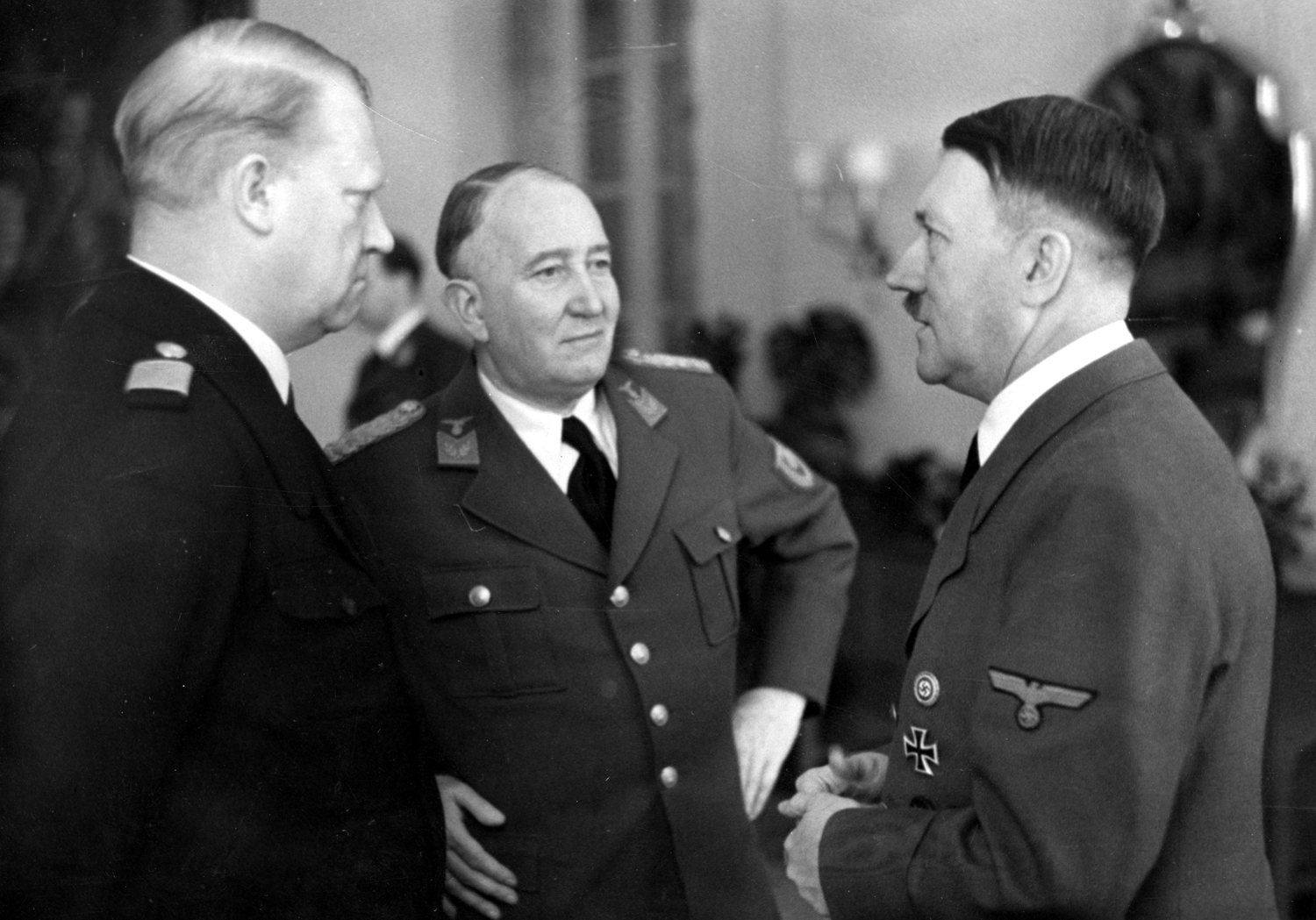Adolf Hitler meets the Norwegian Prime Minister Vidkun Quisling and the Reich Commissioner Josef Terboven