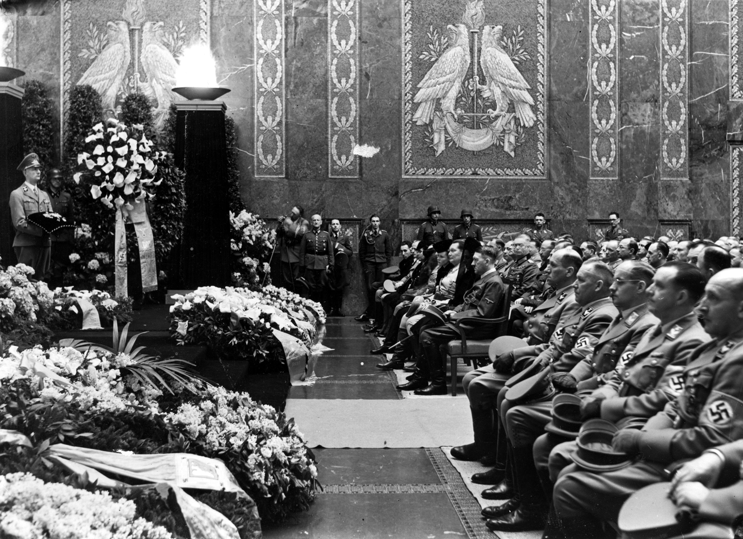Adolf Hitler at the funeral of Carl Roever