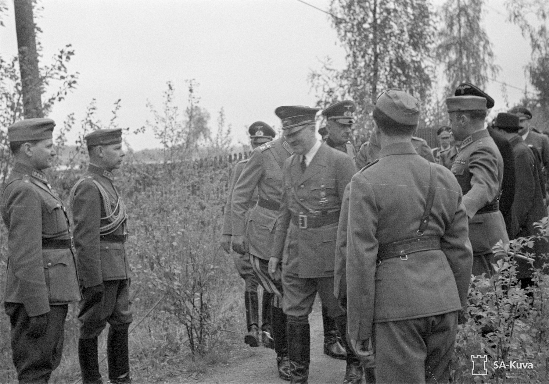 Hitler greets officers during his visit in Finland