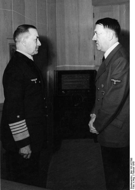 Adolf Hitler receives Grand Admiral Erich Raeder at his Wolfsschanze HQ on the occasion of his appointment as Admiral Inspector of the Navy