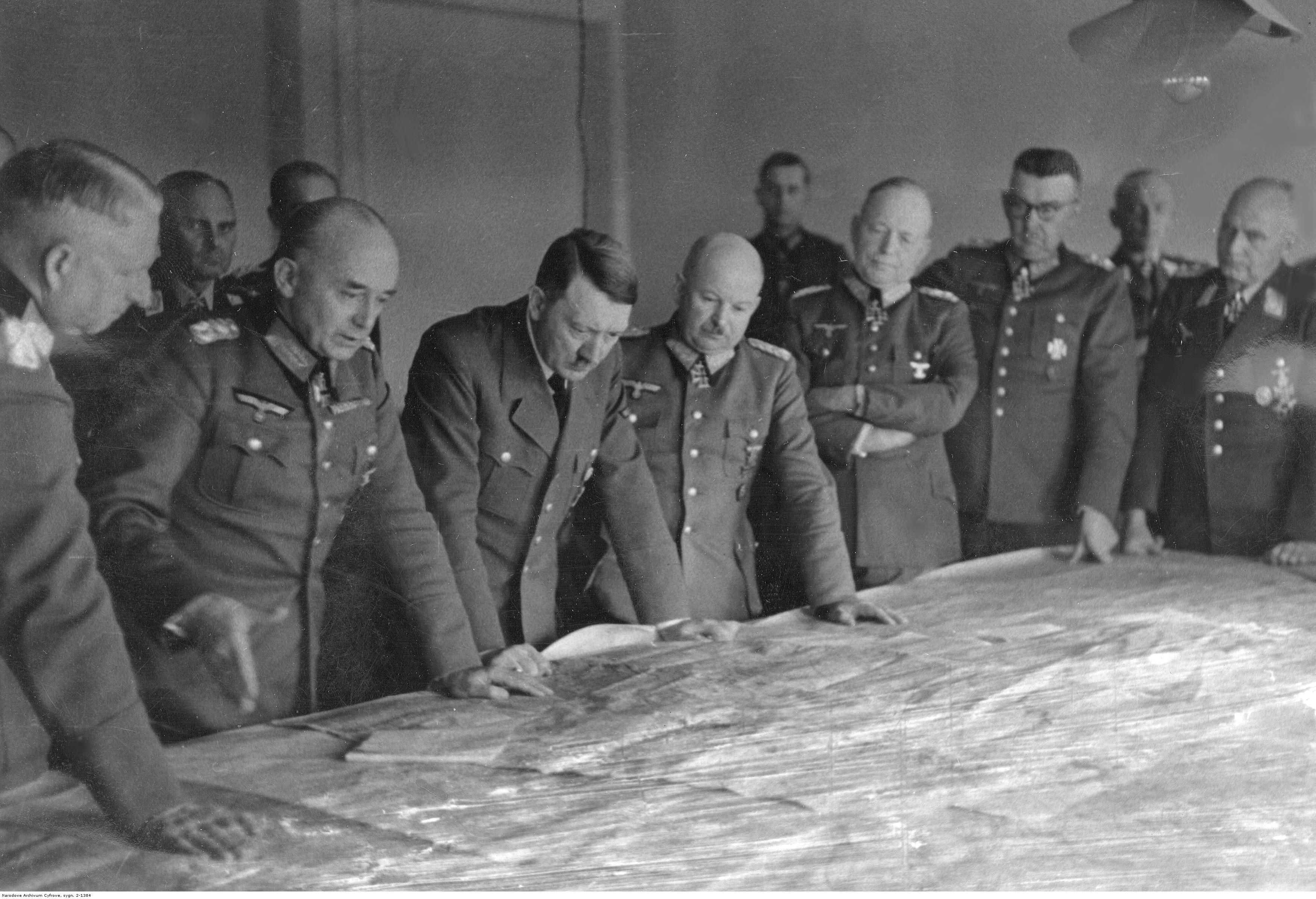 Adolf Hitler and his generals at the situation conference at Manstein Heeresgruppe Süd in Ukraine