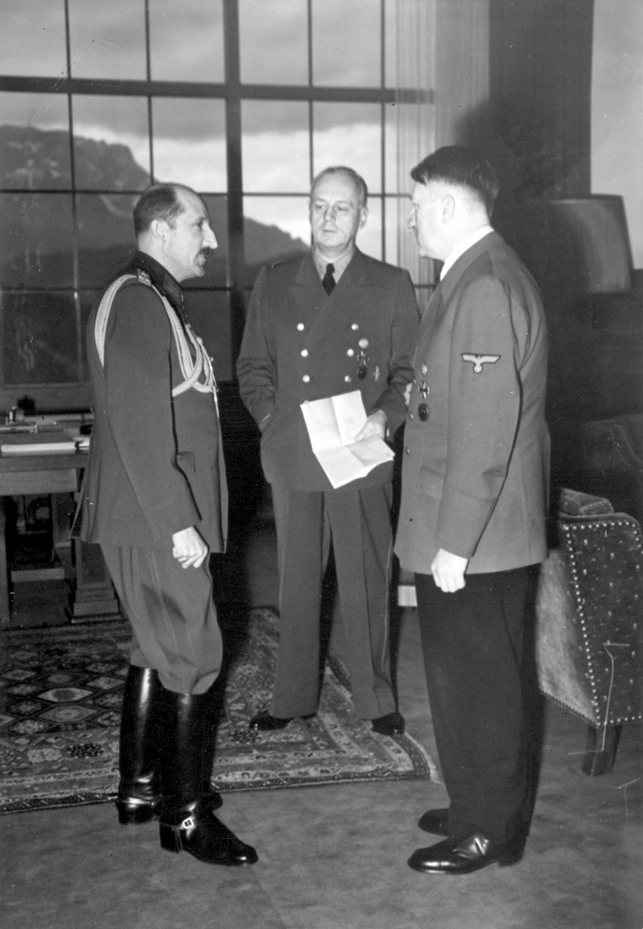Adolf Hitler in conversation with Zar Boris III and Joachim von Ribbentrop in the great hall of the Berghof, from Eva Braun's albums