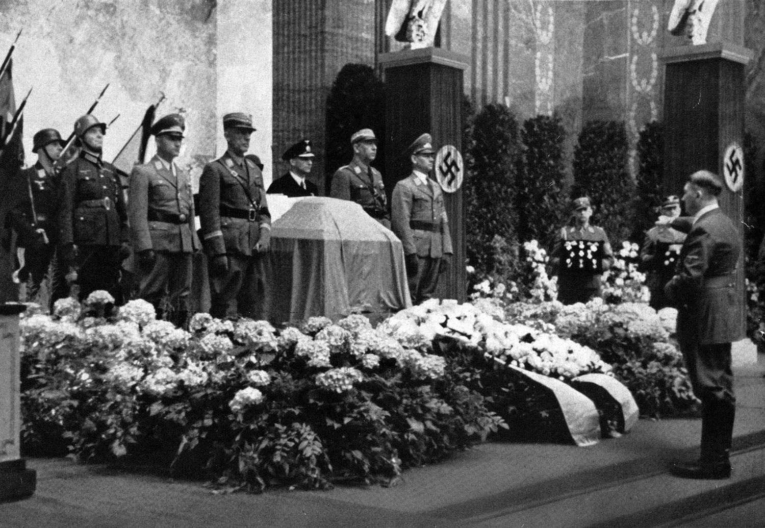 Adolf Hitler at the funeral of Viktor Lutze