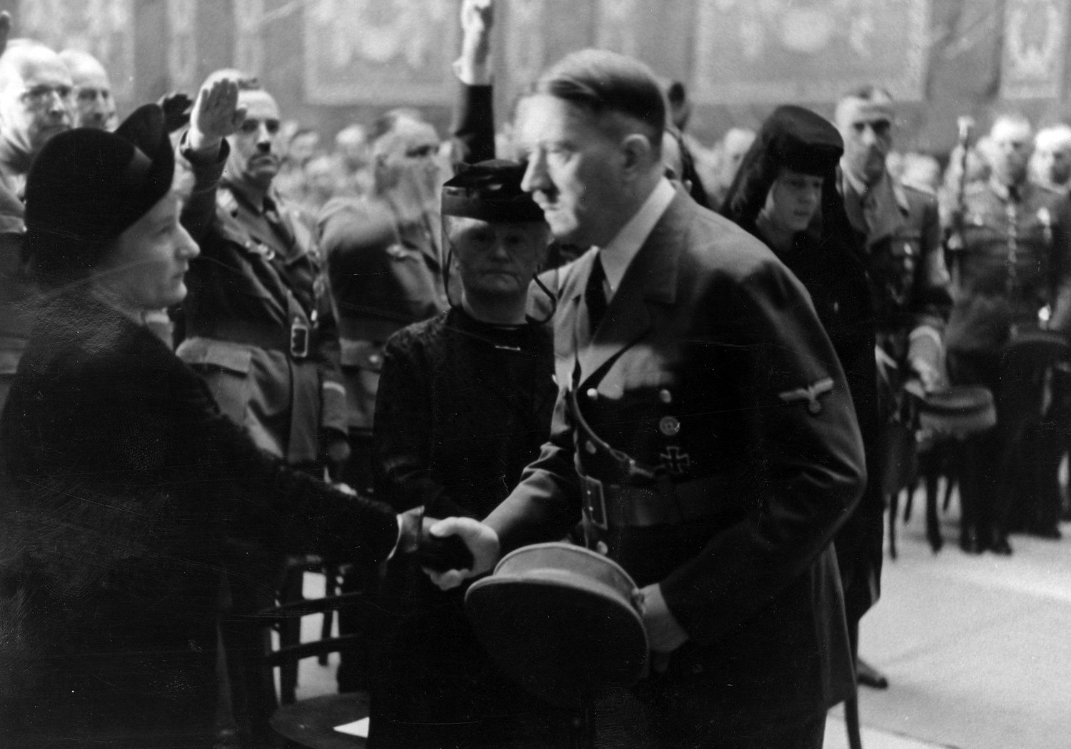 Adolf Hitler gives his condolences to the family of Viktor Lutze at his state funeral