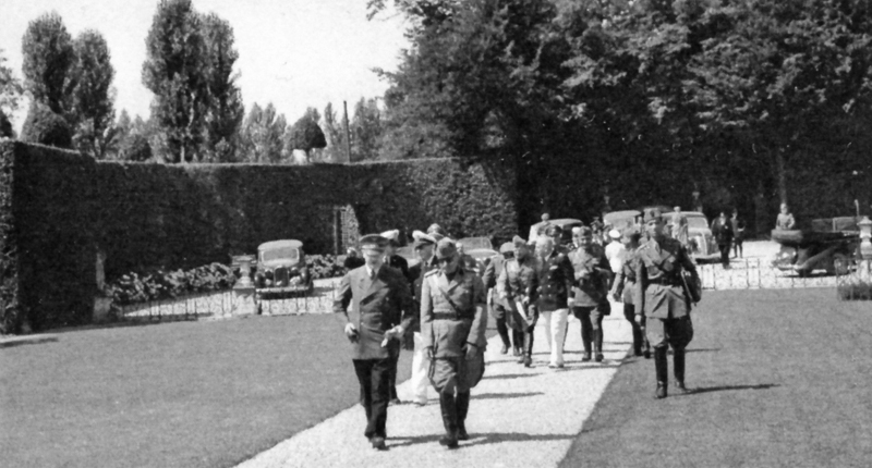 Adolf Hitler and Benito Mussolini arrive at Villa Gaggia, in San Fermo, Italy, for their meeting, a few days before the overthrow and imprisonment of the Duce