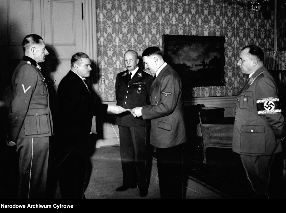 Adolf Hitler and prime minister Jaroslav Krejčí at the celebration of the fifth anniversary of the Protectorate of Bohemia and Moravia held at Klessheim Castle