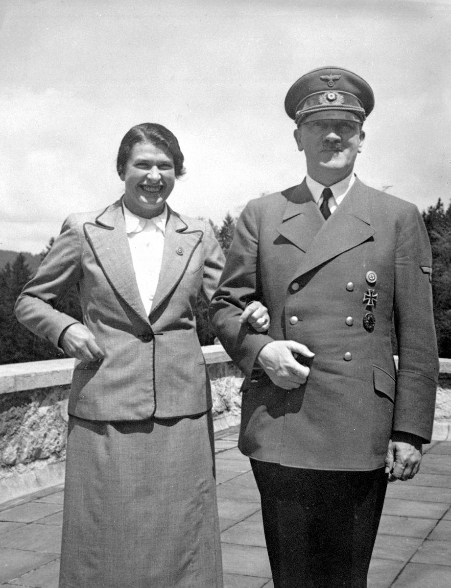 Adolf Hitler poses with his secretary Johanna Wolf for her 44th Birthday, from Eva Braun's albums