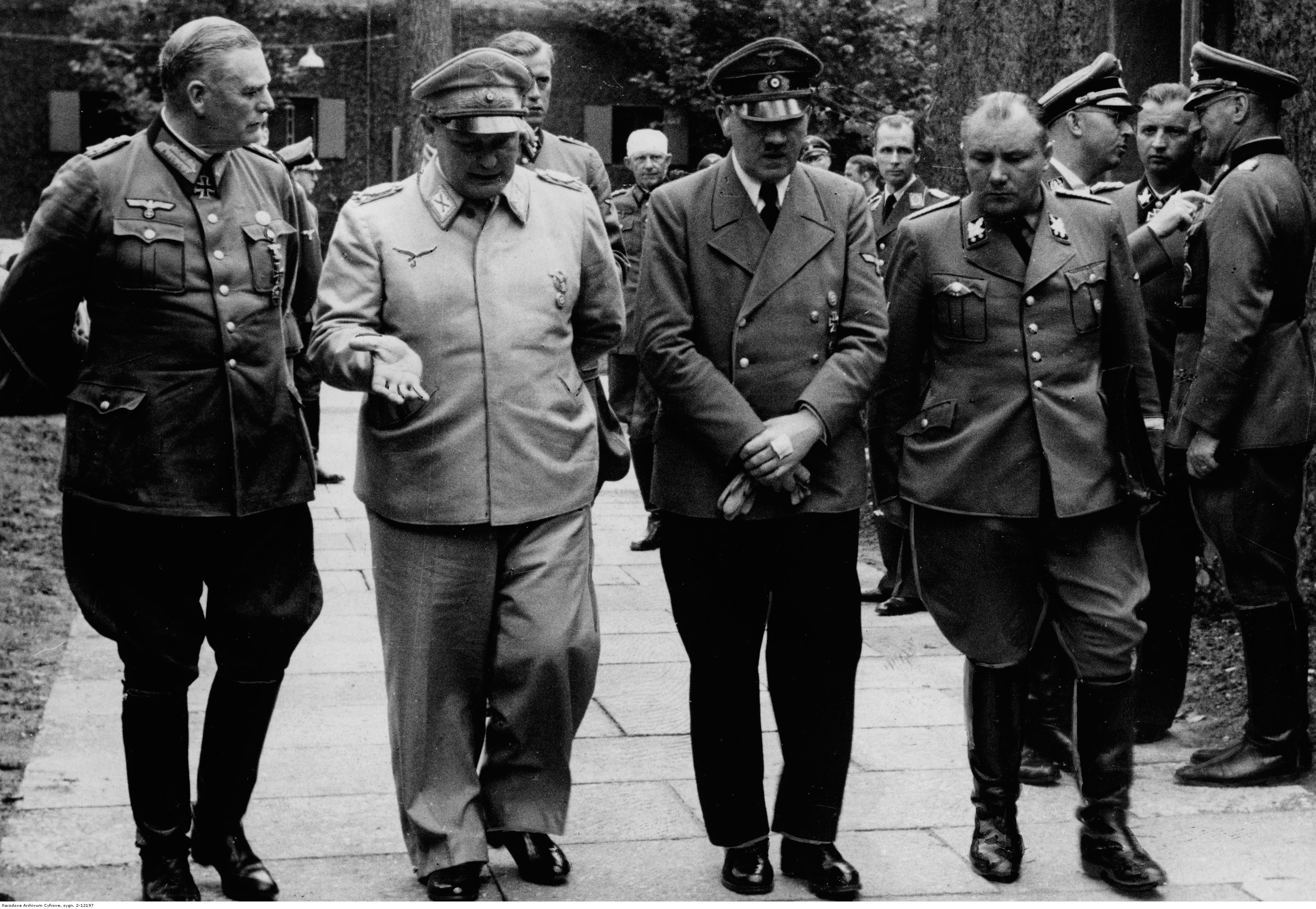 Adolf Hitler with Hermann Göring, Wilhelm Keitel and Martin Bormann at the Wolfsschanze the afternoon after the failed bomb attempt