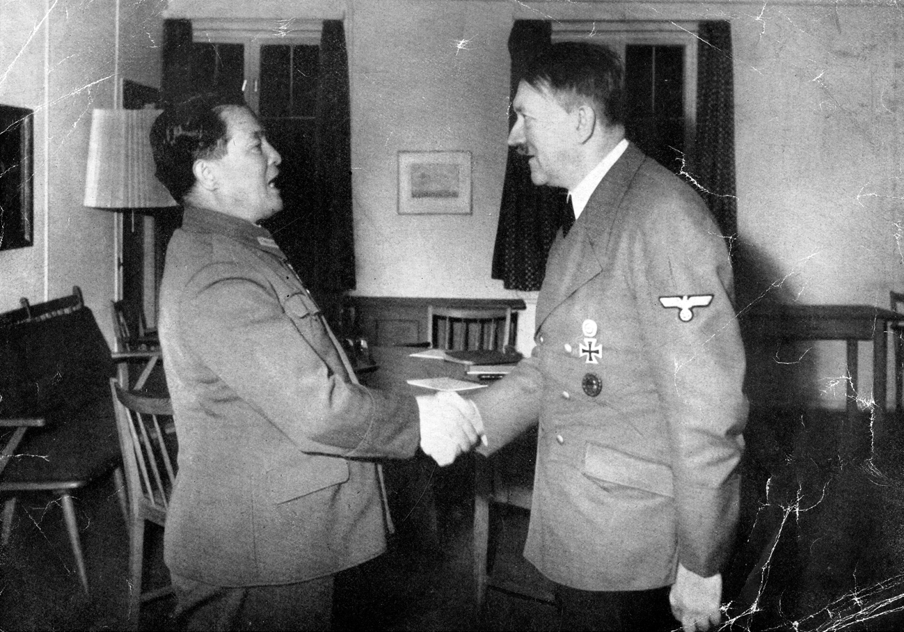 Adolf Hitler welcoming Japanese ambassador Hiroshi Oshima at the Fuehrer's headquarters near Rastenburg in East Prussia