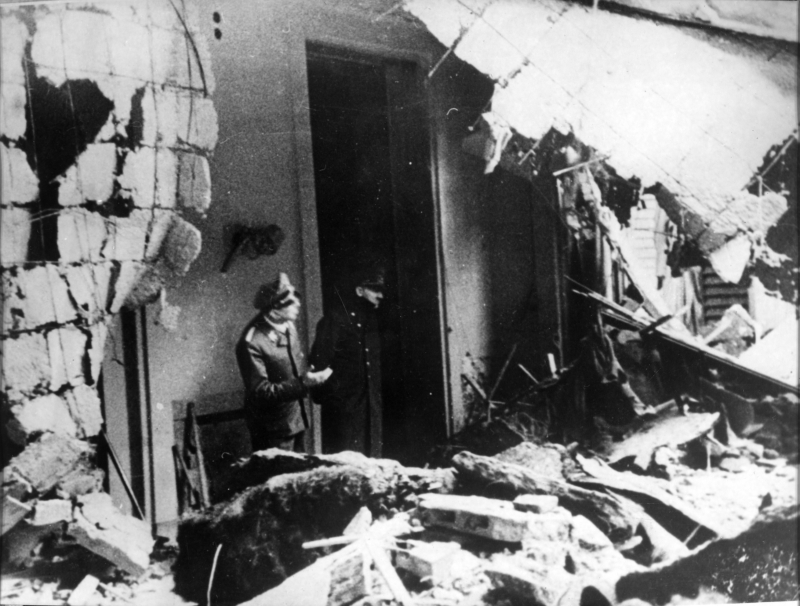 Adolf Hitler observes the ruins of the chancellery, this is supposedly the last photo taken  of Hitler