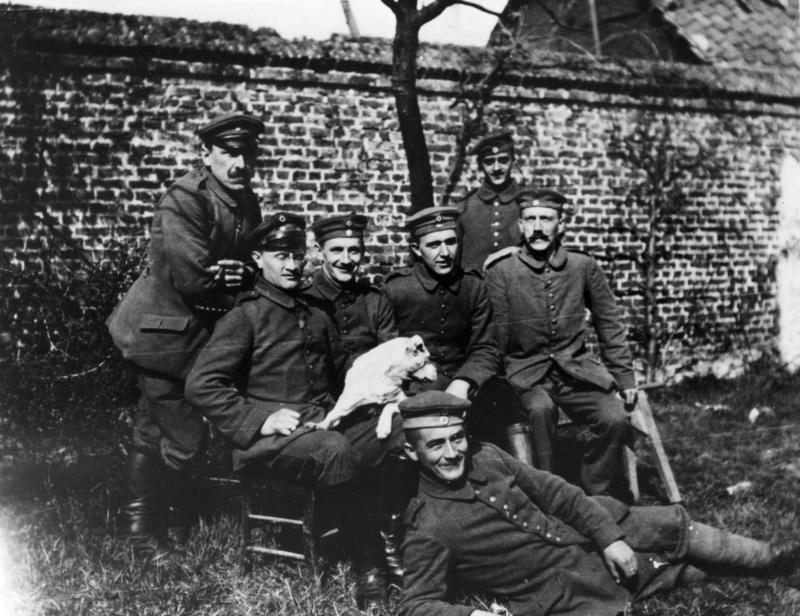 Adolf Hitler with his WWI comrades in Fournes-en-Weppes, France