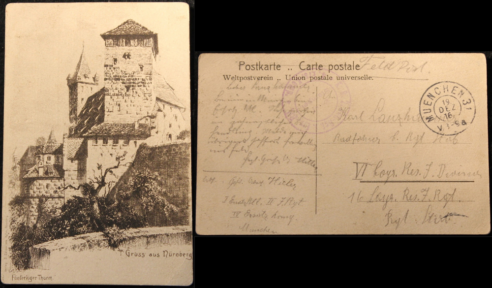Adolf Hitler recovers from a war wound in Munich, he sends a postcard to Karl Lanzhammer, a fellow despatch runner from his regiment, telling him he will report voluntarily to the field immediately