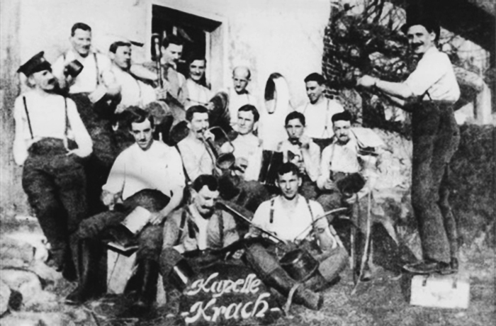 Adolf Hitler (far left) and his comrades in Hantay, France