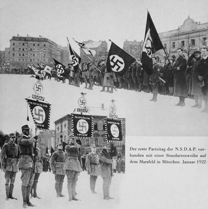 The first Parteitag of the NSDAP was held on 29-30 January 1922 in Munich. Adolf Hitler made a speech each day in the Hofbräuhaus. The NSDAP counted 6000 members