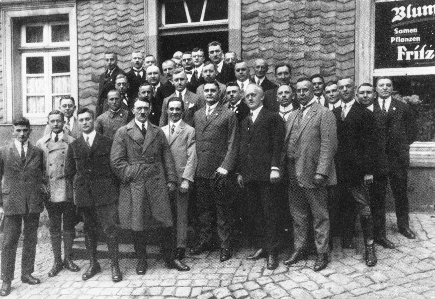 Adolf Hitler and Joseph Goebbels pose with party members in Hattingen