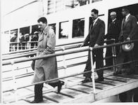 Adolf Hitler and Rudolf Hess leave the Köln cruiser in Wilhelmshaven