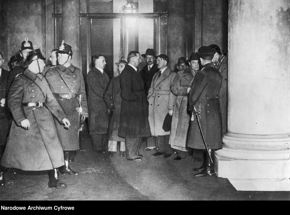 Adolf Hitler, Joseph Goebbels and Hermann Göring inspect the Reichstag after the fire