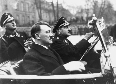Adolf Hitler with his chauffeur Julius Schreck and Joseph Sepp Dietrich at his arrival in Potsdam on the occasion of the Potsdam day