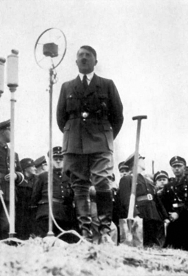 Adolf Hitler gives a speech at the ground breaking ceremony of the Reichsautobahn