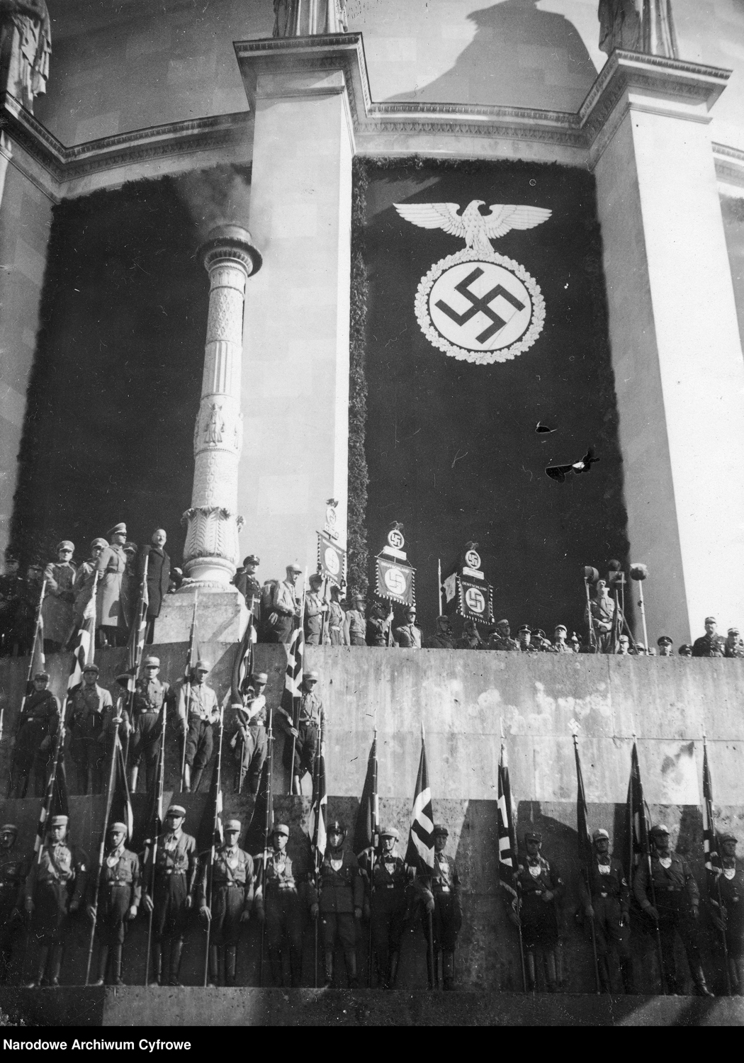 Adolf Hitler gives a speech at the Befreiungshalle in Kelheim