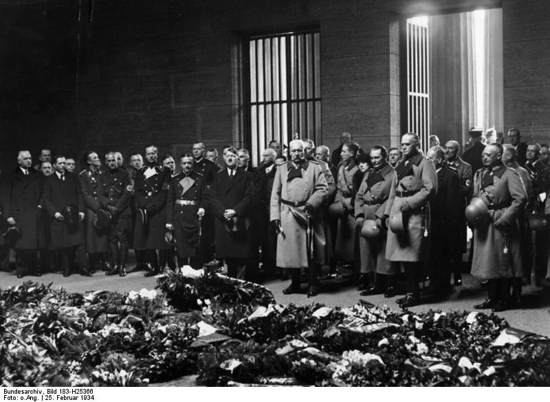 Adolf Hitler and Hindenburg commemorate the victims of WWI at the cenotaph of Unter den Linden, Berlin for Memorial Day