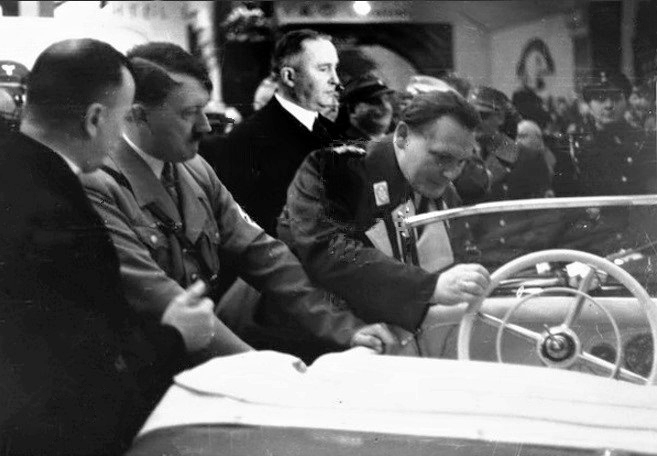 Adolf Hitler at the Berlin motor show with Wilhelm Kissel, director of Daimler-Benz AG and Hermann Göring