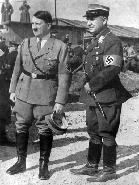 Adolf Hitler and Fritz Todt at the beginning of the building of the Reichsautobahn in Unterhaching near Munich