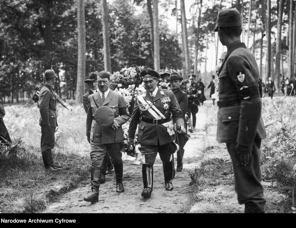 Adolf Hitler and Hermann Göring at the re-burial of Goering's first wife, Carin