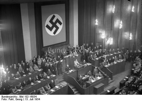Adolf Hitler gives a speech at the Reichstag