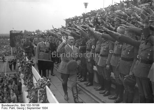 Adolf Hitler taking the salute of formations of the Reich Labour Service
