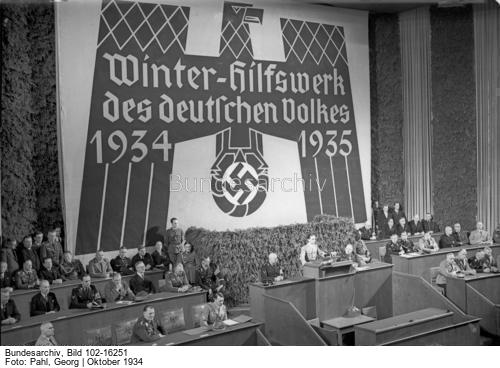 Joseph Goebbels makes a speech for the opening of the 1934 Winterhilfswerk