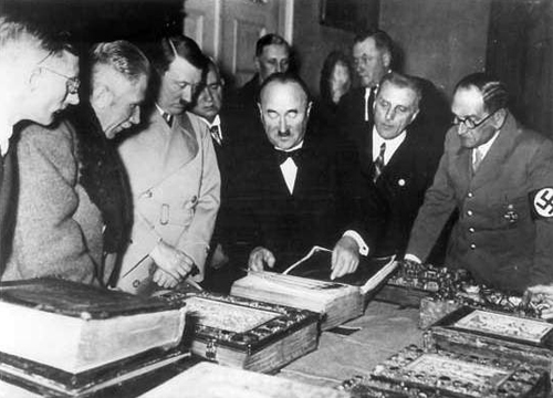 Adolf Hitler and German officials visiting the Bavarian State Library