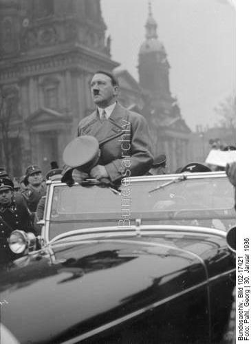 Adolf Hitler arrives in Berlin's Lustgarten before his speech in front of 30.000 old SA fighters on the occasion of the Tag der Machtergreifung