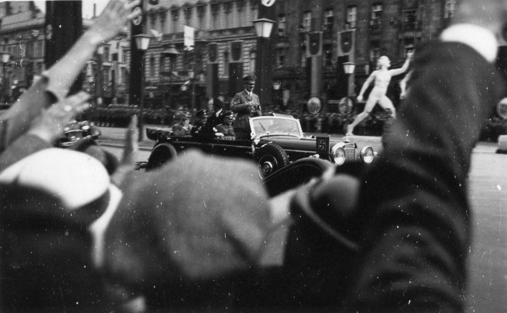 Adolf Hitler in Berlin on his way to the Olympic stadium for the opening of the 1936 Olympic games