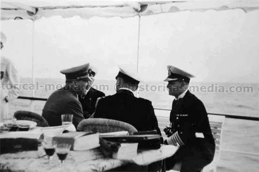 Adolf Hitler aboard the 'Nixe' on the terrain of the Olympic sailing regatta on the Kiel Fjord