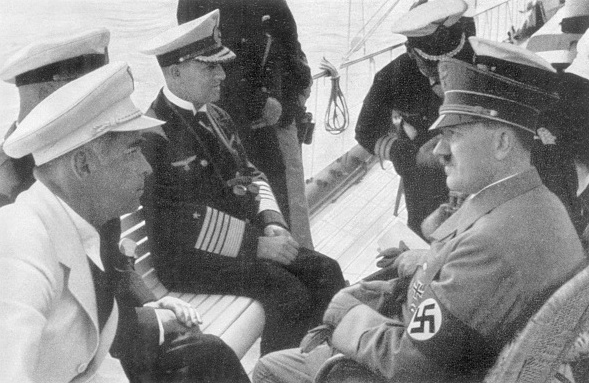 Adolf Hitler with the Commander of the navy and Chairman of the Reichs Sports Hans von Tschammer und Osten on board at the sailing regattas on the Kiel Canal